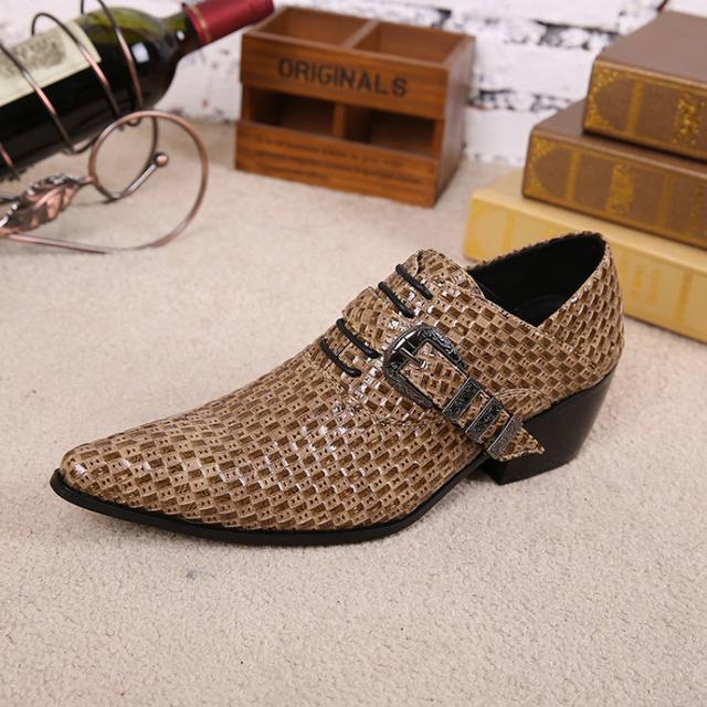 Christia Bella Estilo Británico Hombres Oxfords de Cuero Genuino Aumento de la Altura Zapatos para Los Hombres de la Hebilla de Negocios Formal de Los Hombres Zapatos de Vestir