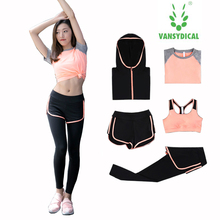 Yoga gear set women running workout clothes show thin summer quick drying gym fitness sport training running suits
