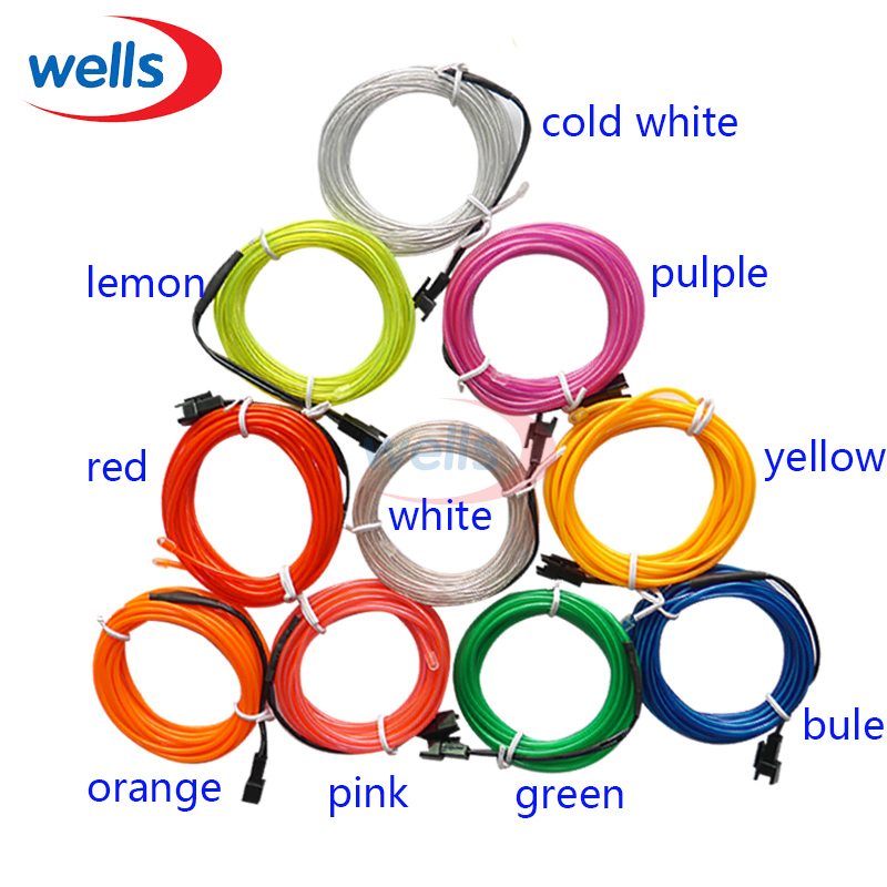 10 Colors select 3M Flexible Neon Light EL Wire Rope Tube White ...
