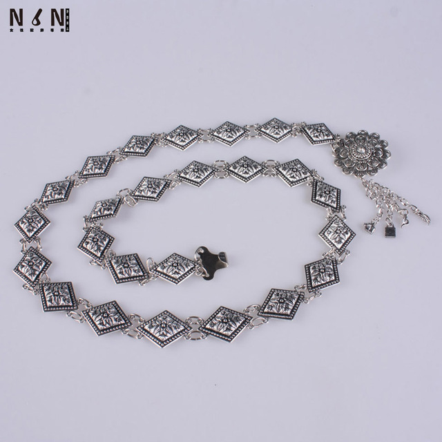 Silver metal girl waist chain fashion joker carved decoration leather grass skirt waist belt with sweater chain accessories V218