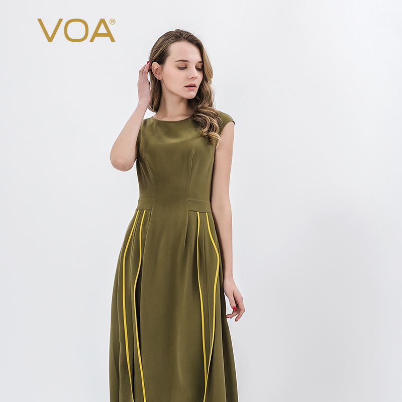 VOA soie lourde col rond épissure contraste couleur bord X type Slim fit robe femme A10318