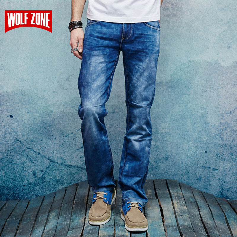 Top Fashion 2017 Denim Jeans Men Cotton Homme Mens Famous Brand Clothing Solid Mid Midweight Winter Autumn Full Length Jean Blue men s cowboy jeans fashion blue jeans pant men plus sizes regular slim fit denim jean pants male high quality brand jeans