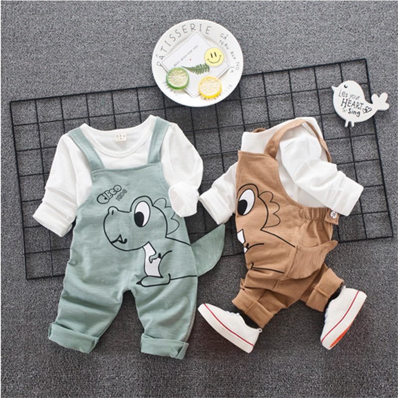 Newborn Baby Girls Clothes Sets Boy Clothing Set Cute Dinosaur Top Shirt Pant with Shoulder-straps Set for Toddle Kid Girls Boys clearance 2pcs set baby boy clothes cartoon pattern baby clothing sets summer black white top pant for newborns bebk giyim