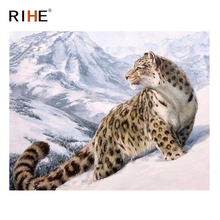 RIHE Snow Mountain Leopard Diy Painting By Numbers Animal Oil On Canvas Hand Painted Cuadros Decoracion Acrylic Paint