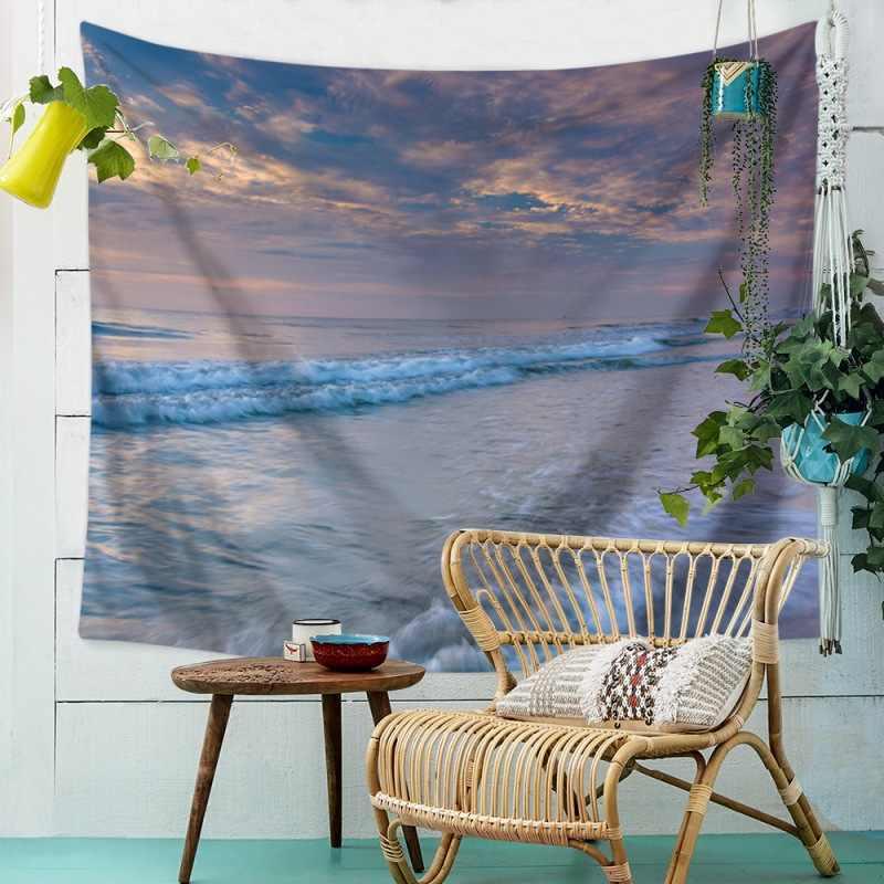 Пляжное одеяло с принтом океана волна заката пляжный узор настенный гобелен