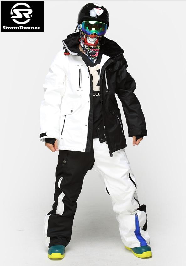 StormRunner Doppio Snowboard Tuta Da Sci da Uomo di Spessore Impermeabile Esterna Impermeabile Può resistere a-35 in Bianco e Nero di Sesso Maschile di Sci set