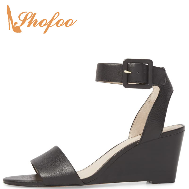 Shofoo Wedges Heels Back-Strap Ankle-Wrap Black/silver Fashion Buckle Solid Leisure Super-High