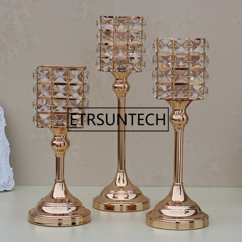 3pcs/set Gold Crystal Candle Holders Luxurious Event Candlesticks Party Candle Stand Centerpiece Candelabra Wedding Decor