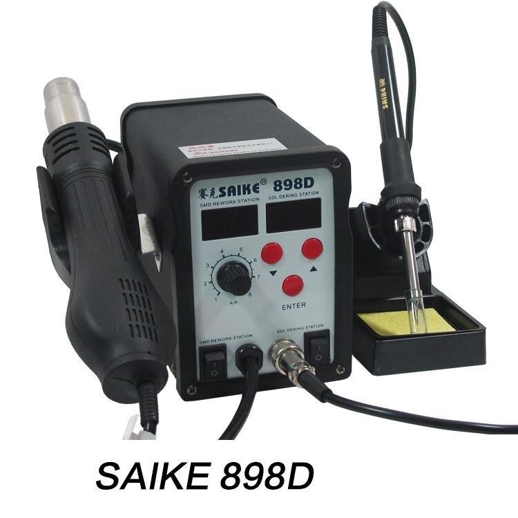 цена на SAIKE 898D 2 in 1 soldering station hot air gun+solder iron