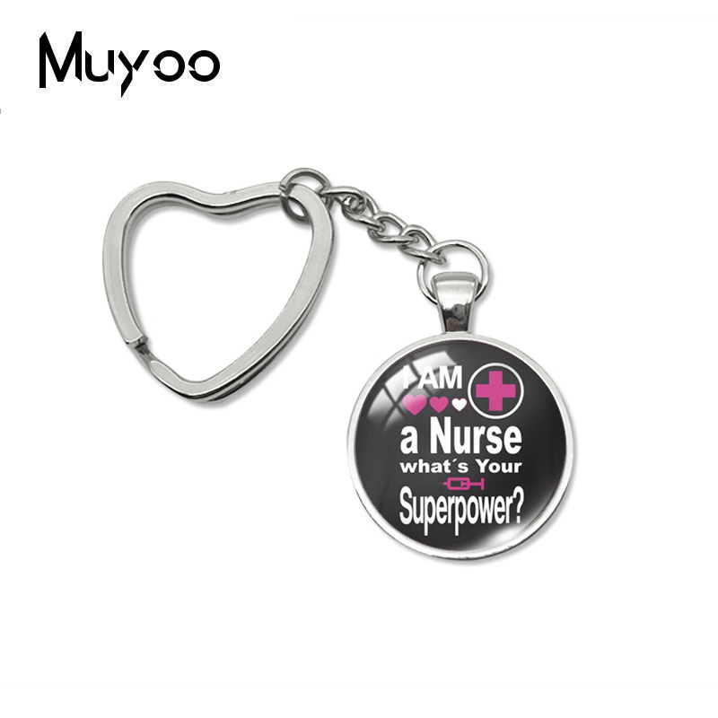 2019 New I'm A Nurse What's Your Superpower Heart Keychain Glass Dome Key Chain Hand Craft Photo Jewelry