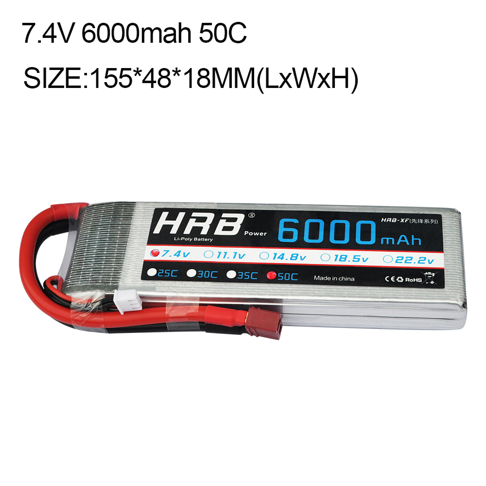 HRB RC Lipo 2S Battery 7.4V 6000mAh 50C Max 100C AKKU Battery for RC Model Trex 500 Helicopter Traxxas Car Boat Quadcopter 2018 new arrived lipo battery 2s 7 4v 1200mah 20c max 50c with tamiya connector akku for mini airsoft gun battery rc model