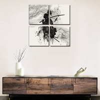 Japan Style Warrior Poster Wall Art Canvas Print Black and White Watercolor Japanese Samurai Painting for Dining Room Wall Decor