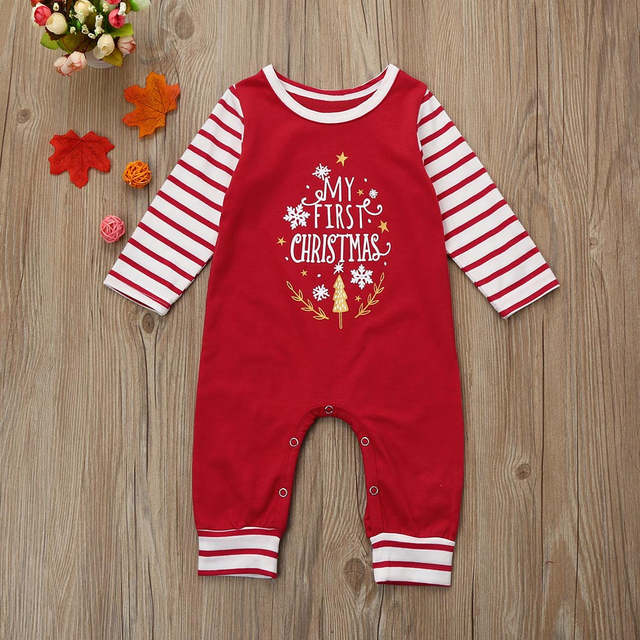 aab35804855eb US $6.5 7% OFF|0 18 Months Baby Cotton Blend Christmas Clothes Newborn Baby  Girls Boys Letter Rompers Jumpsuit Set Outfit Clothes #YL-in Clothing Sets  ...
