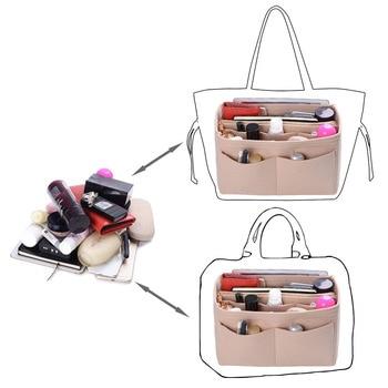 Purse Organizer Insert Makeup Handbag , Felt Bag organizer with zipper, Handbag & Tote Shaper, Fit Cosmetic Bags Never Full,Tote 4