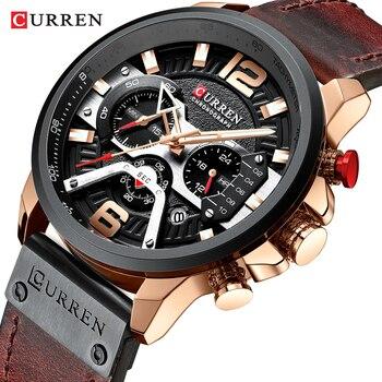 Top Brand CURREN Luxury Mens Watches Leather Sports Watch Men Fashion Chronograph Quartz Waterproof Man Clock relogio masculino
