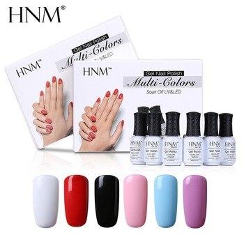 HNM UV Gel Nagellack Stanzen Set 6 teile/los 8 ml Soak Off Nai Gel Geschenk Box Lack Semi Permanent DIY Malerei Gellak Emaille