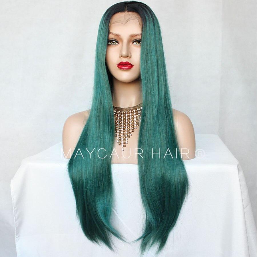 Preto verde ombre cor longa reta peruca