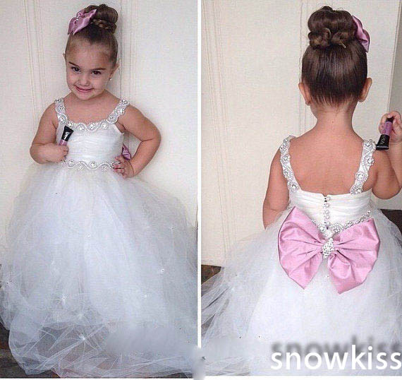 Custom white/ivory flower girl dresses for wedding parties vintage toddler glitz prom gowns infant baby special occasion frocks