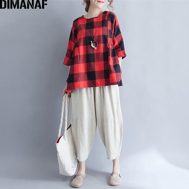 6fde45251ae DIMANAF Women Summer Plus Size Blouses Red Black Plaid Shirts 2018 Female  Tops Clothing Fashion Oversized Batwing Sleeve Shirt