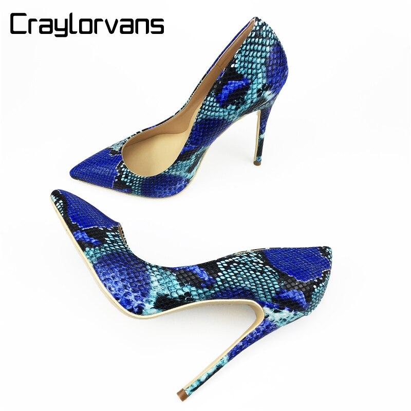 "Craylorvans 2018 חדש מגיע נעלי נשים עקבים נעליים עקב גבוהים סקסיות נחש מודפס כחול 12 ס""מ/10 ס""מ/8 ס""מ נשים הבוהן מחודדות משאבות"