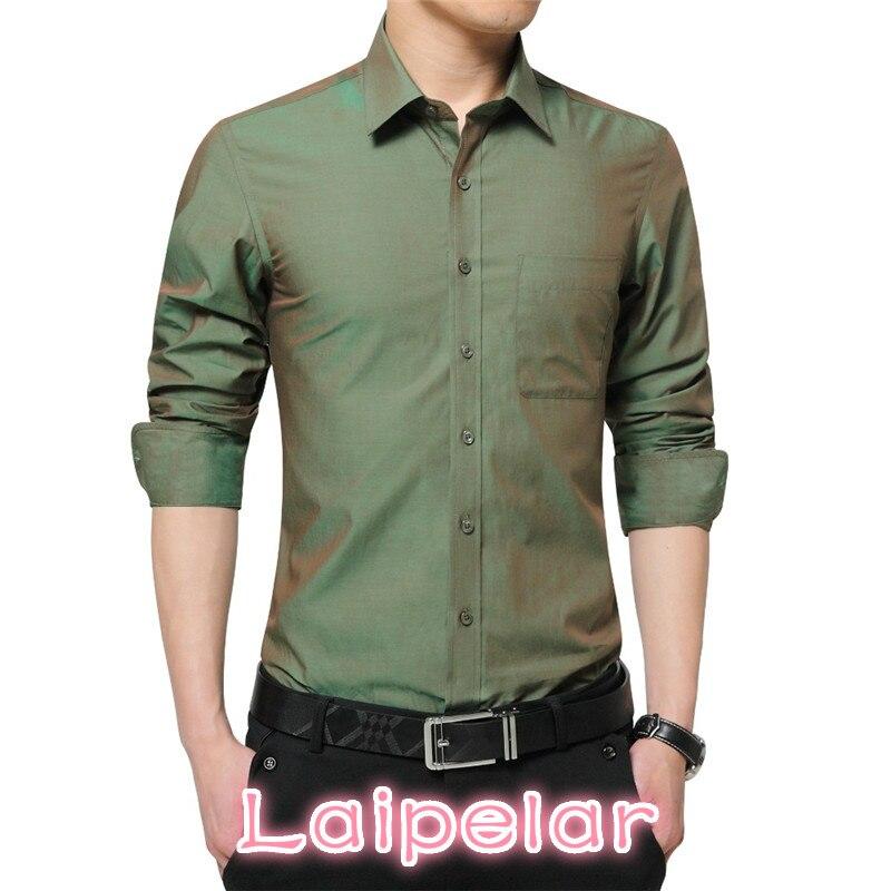 2018 nouvelle marque hommes robe chemise à manches longues Cool chemise couleur bonbon grande taille 5XL col rabattu Slim Fit chemise pour hommes