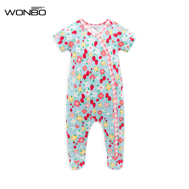 Baby Girl Romper Floral Printing Summer Clothing Short Sleeve Newborn Bamboo Fabric Baby Girl Clothing