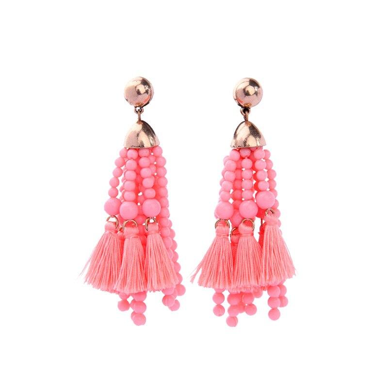 ZWPON 2018 Gold Statement Fans Tassel Earring for Women Bohemian Jewelry  Big Pink Acrylic Beaded Dangle Earrings Valentine Gifts-in Drop Earrings  from ... ed5c70a34f06