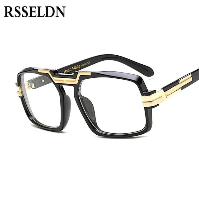 1a9871eec Rsseldn جديد كبير ساحة إطارات عالية الجودة أسود واضح ترف النساء نظارات  ماركة نظارات إطار للرجال