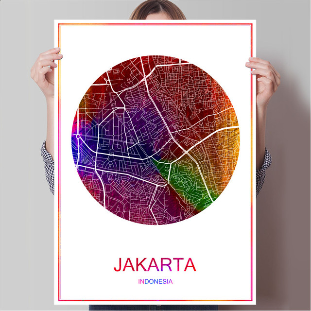 abstract world city map jakarta indonesia print poster print on