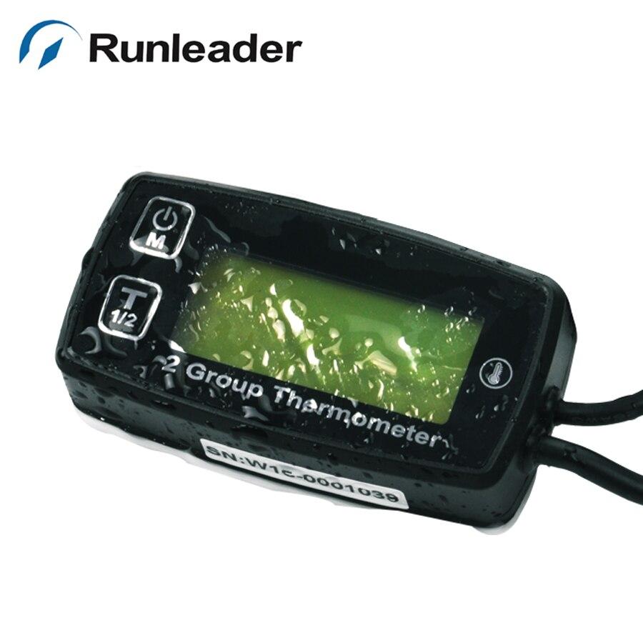 RunLeader RL-TM005 Celsius Temperature Thermometer with Voltmeter Clock Temp Sensor for ATV UTV Dirtbike Motobike Motocycle outboards Snowmobile pitbike PWC Marine Boat Waterproof