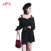 Autumn Vintage Hard Black Suspenders Dress Female Harajuku Gothic Korean Off Shoulder Sexy Shirt Dress Women Punk Style Dresses