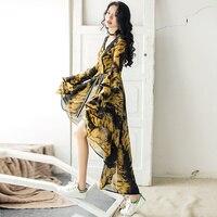 Sexy Irregular Women Fashion Chiffon Dress Long Flare Sleeve Low High V Neck Leopard Print Dresses