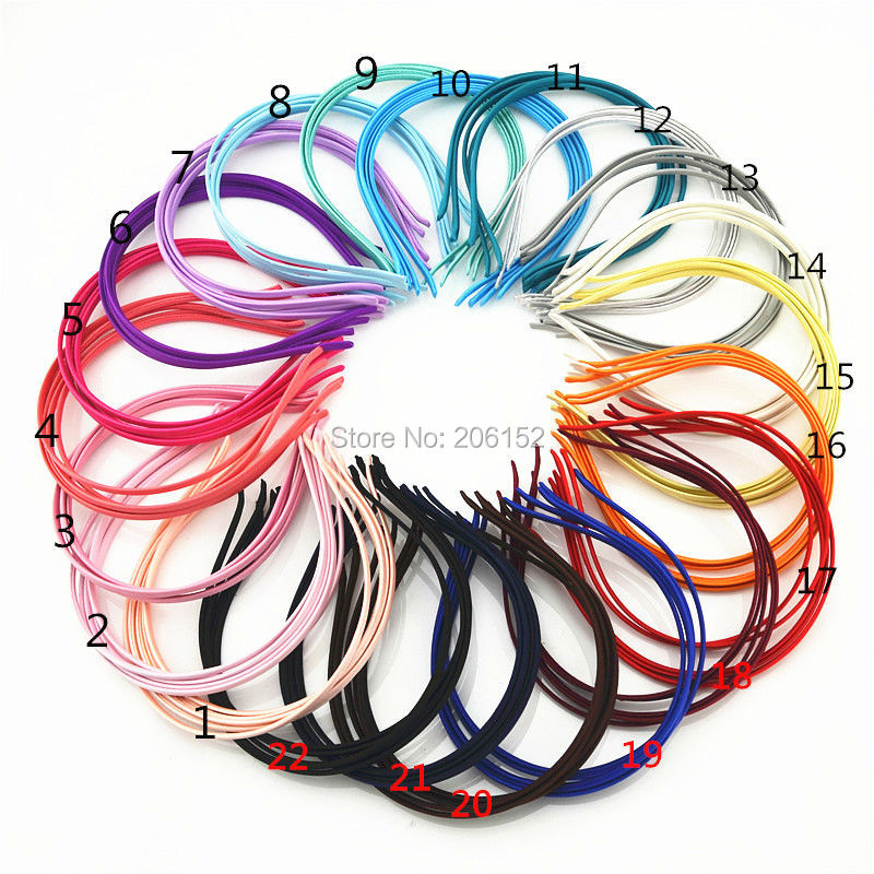 500 Pieces Free Shipping By EXPRESS Wholesale Solid Colors Fabric Covered Headband Metal 5mm Headwear Girl