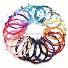 500 adet EXPRESS tarafından ücretsiz nakliye toptan katı renkler kumaş kaplı kafa bandı Metal 5mm şapkalar kız saç aksesuarları
