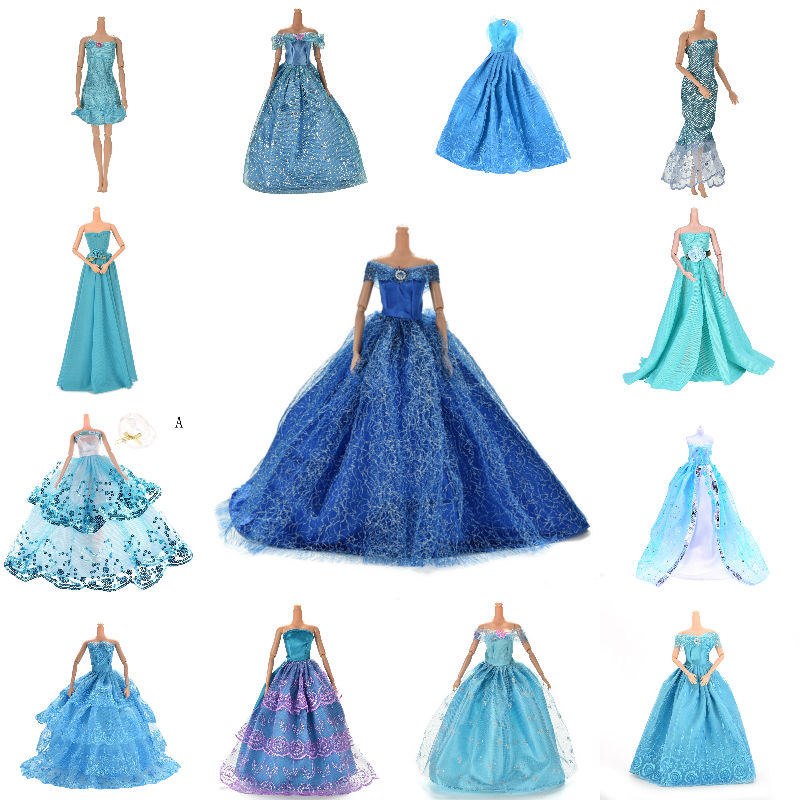 Blue Color Handmade Evening Dress Doll Wedding Dress Furniture For Dolls Puppet Clothes Dolls Accessories Multi Styles