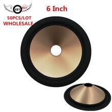 купить Wholesale 50 pcs/lot  6 Inch Speaker Rubber Edge Paper Cone Full Frequency Thickening Gold Color Plastic Cones  27 mm Core по цене 5924.33 рублей