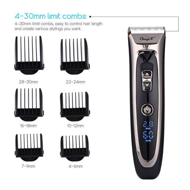 Profissional aparador de cabelo digital recarregável elétrica máquina cortar cabelo sem fio dos homens lâmina cerâmica ajustável RFC-688B 49 4