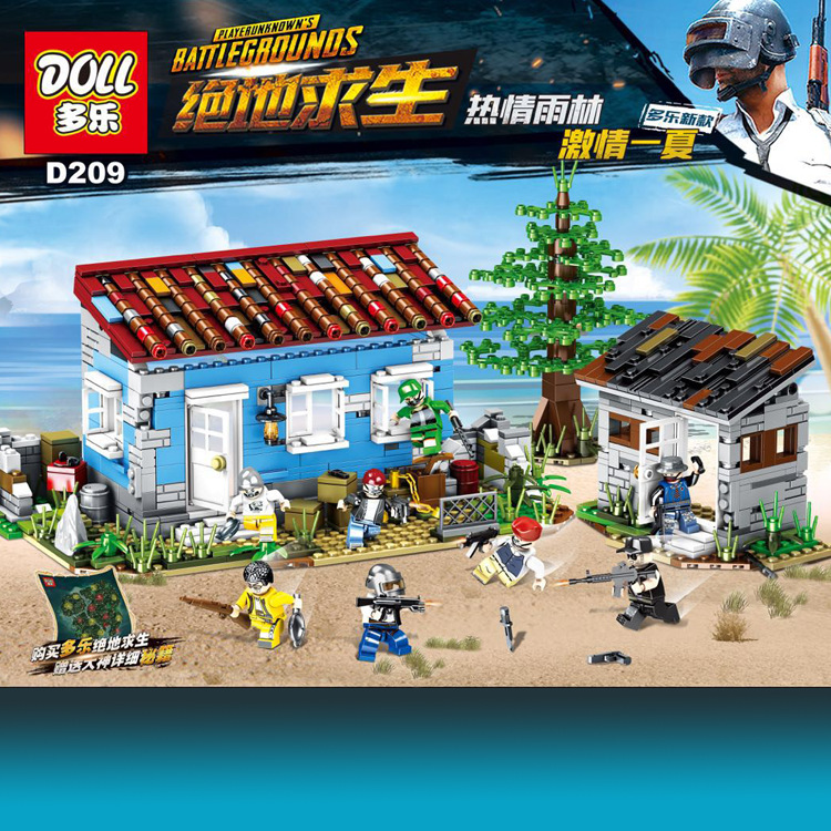 NEW D209 PUBG FPS Game MILITARY Winner Winner Chicken Dinner Soldier Army Weapon Building Blocks Figures Educational Toys цена