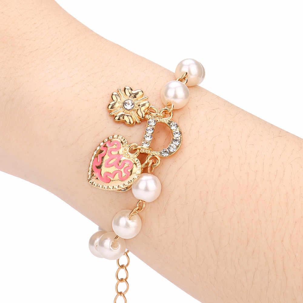 פרח סימולציה פניני אהבת לב צמידי צמידים לנשים בנות קריסטל צמיד זהב צבע צמיד pulseras mujer #35