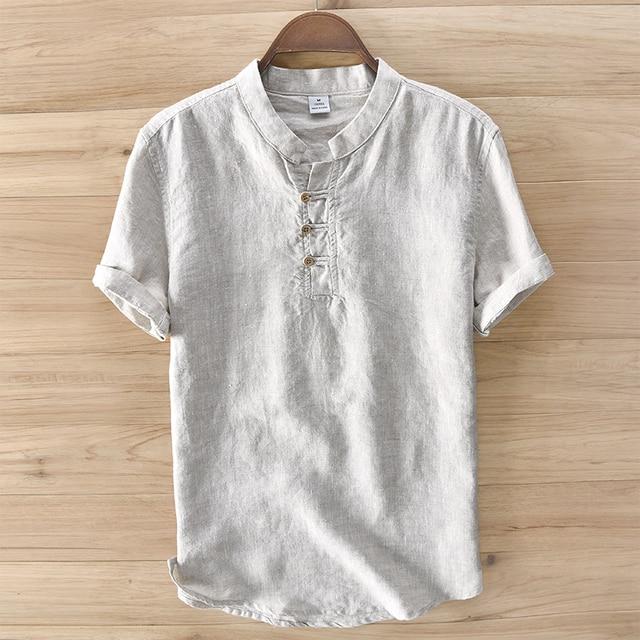 971f8d6a6b6 Новый дизайн 100% льняные рубашки мужские Твердые Хаки льна мужчины рубашка  летние Господа стильная итальянская