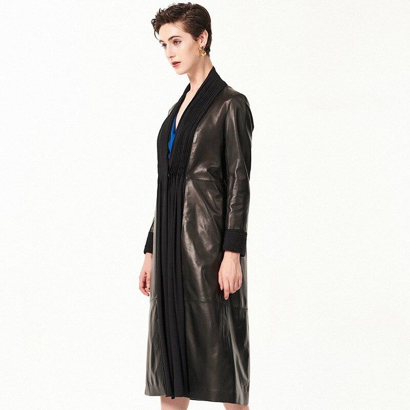 Printemps Femmes X Véritable Peau longue Mode Manteau En Tranchée Mince cou De Réel Nouvelle 2019 Arrivée V Cuir Mouton Veste Black rrwUvxIq