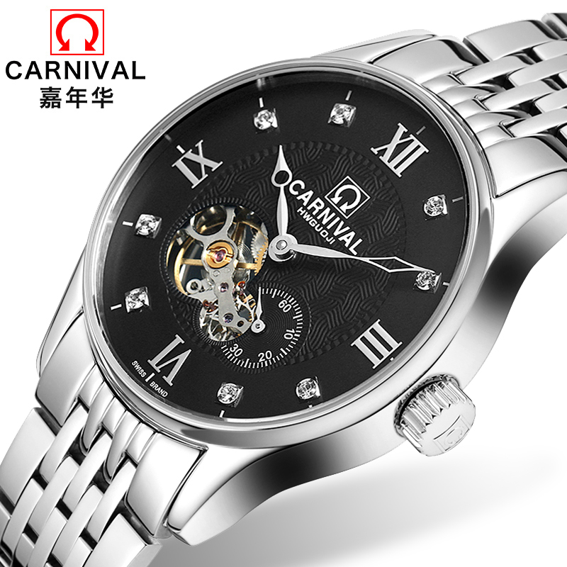 Classic Carnival Tourbillon Mechanical Watch Men Sapphire Hollow Dial Full Steel Waterproof Clock Reloj Hombre Relogio ailang tourbillon automatic mechanical watch men s waterproof 50m army sport watches men full steel luminous clock reloj hombre