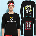 2016 New Game Watch Over Printed Men T-shirt Long Sleeved Cotton D.VA MEI GENJI HANZO McCree Soldier 76 Plus Size T Shirt