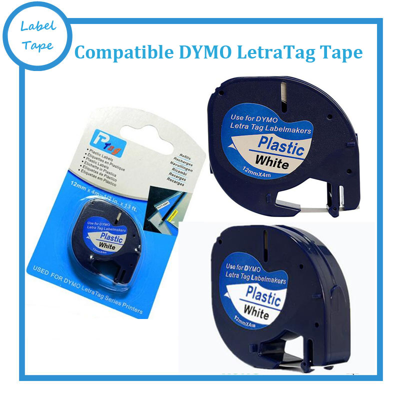 3PK lot DYMO Letratag plastic tape 12mm black on white LT 91201 for dymo LT printer