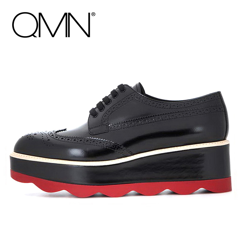 QMN women genuine leather platform flats Women Patent Leather Brogue Shoes Woman Creepers Women Platform Oxfords 34-39 qmn women genuine leather platform flats women laser cut square toe brogue shoes woman oxfords women leather creepers 34 42