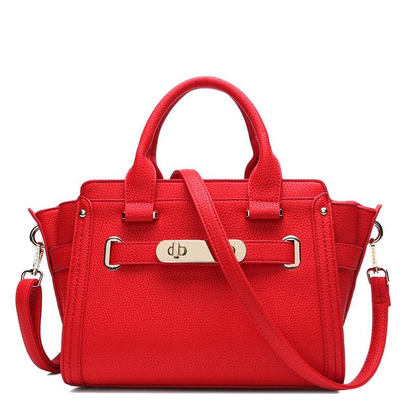 leather ladies bags The European and American fashion litchi grain cowhide platinum bag portable oblique satchel bag