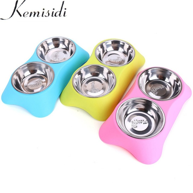 KEMISIDI 3 Colors Stainless Steel Dog Bowls,Lovely Candy Color Double Pet Food Water Drink Dishes Feeder For Cat Puppy Dog S/L