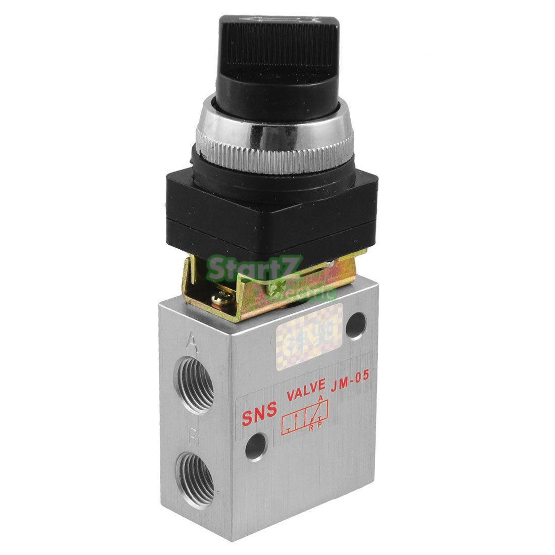 Pneumatic switch JM-05 2 Position 3 Way Selective Knob Type Mechanical ValvePneumatic switch JM-05 2 Position 3 Way Selective Knob Type Mechanical Valve