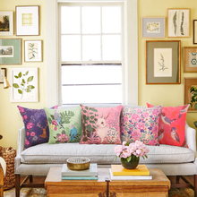 """פרחים וציפורים טרי טרי כותנה 43x43cm33 ו 53×53 ס""""מ כרית ספה, כיסא כיסוי כרית פשתן, כרית ללא כרית"""