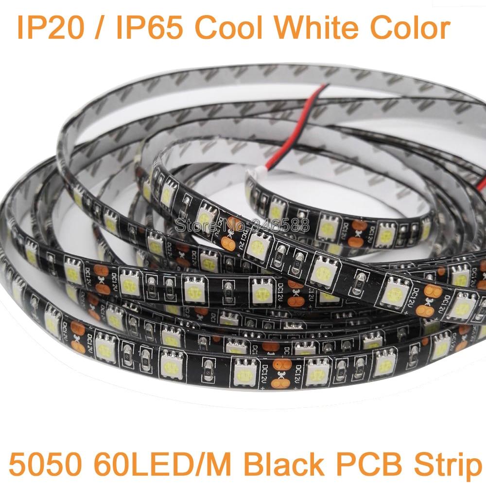 5M 12V 10mm Width Black PCB LED Strip 5050 DC12V IP20 IP65 Waterproof 60LED/M Cool White 5050 LED Strip 60 LED/M